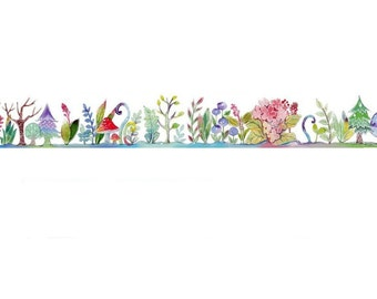 Fairy Tale Forest Washi Tape, Wide 30mm, Colorful Plants, Trees, Flowers
