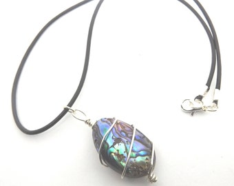Natural Paua Shell Wire Wrapped Pendant