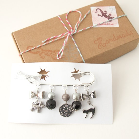 Items Similar To Dog And Cat Brooch Silver Metal Black