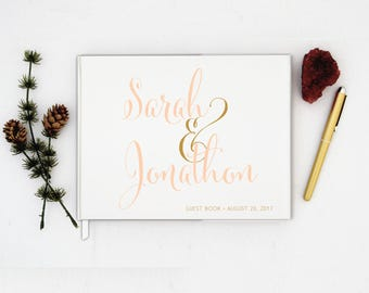 Wedding Guest Book landscape horizontal Guest Books Custom Guestbook Modern Wedding Script Wedding - Ivory