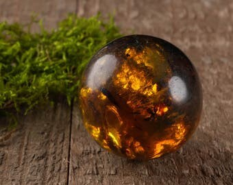 Polished AMBER Sphere - XS, S, M - Multicolor Mexican Amber, Natural Amber Stone, Stone Sphere, Healing Stone, Red Amber, Yellow Amber E0356