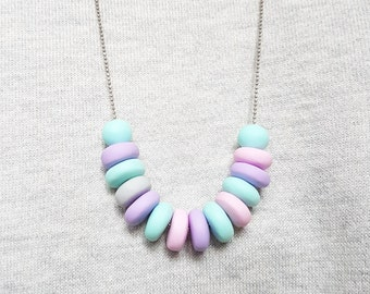 Pastel necklace, Purple necklace, Pink necklace, Mint necklace, Long necklace, Summer necklace, Cute necklace, Lovely necklace, Gift for her