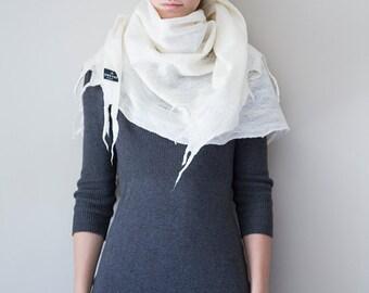Merino wool scarf handmade wrap shawl Cobweb Felted Scarf Custom white