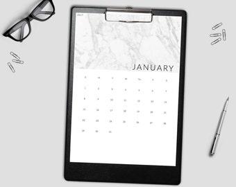Sale! 2017 Minimal Marble Printable Wall Calendar - Printable Calendar - 2017 Monthly Wall Calendar - Printable Monthly 2017 Calendar