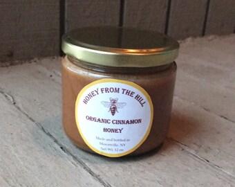 12 oz. Cinnamon Honey- Raw Cinnamon Honey, Organic Cinnamon Honey, Natural Flavored Honey