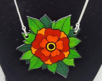 Traditional tattoo-style flower necklace / long necklace / silver plated / handmade / gift for tattoo lovers
