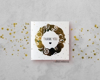 Thank You Card - Gold foil Mandala Card - Henna Paisley Card - Indian Paisley Card - Hand Finished Card