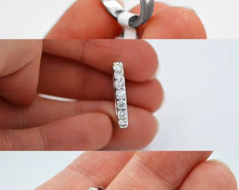 Certified 14k White Gold Diamond Wedding Ring 1.09ct, G color, VS2 clarity