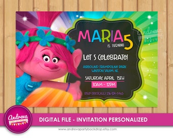 Trolls Birthday Invitation, Trolls invitation, Trolls Poppy, Trolls Party, Trolls invite, Trolls invitations, Trolls Digital Invitation
