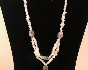 Tourmalinated Quartz necklace and matching earrings.