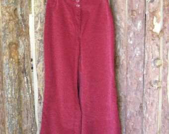 Very Cool Vintage 60s Nugal-Paris Bell Bottoms Stovepipe Pants Red Burgundy Corduroy Size 10