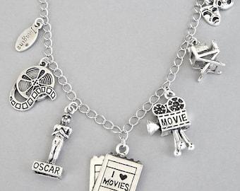 Movie lover bracelet or movie theme necklace, love movies charm bracelet, cinema buff, movie star, theater actor charm, film, drama charm