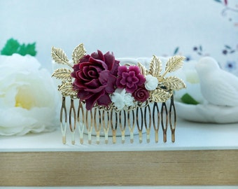 Burgundy Red and White Flower Gold Comb, Marsala Red White Large Hair Comb, Maroon White Wedding Comb, Maroon Red Gold Leaf Bridal Hair Comb