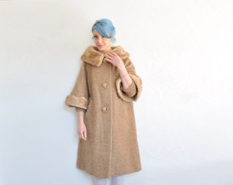 rare scalloped mink fur swing coat . mod gold taupe wide collar jacket .small.medium.large