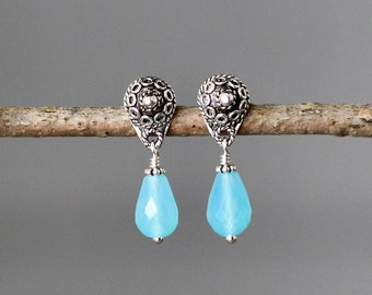 Aqua Chalcedony Earrings - Bali Silver Earrings - Post Dangle Earrings - Chalcedony Jewelry - Gemstone Post Earrings - Wire Wrapped Earrings