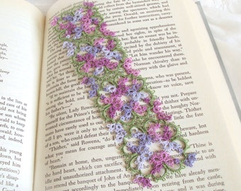 Tatted Lace Bookmark - Floral Tatting - Lilacs , Leaf Green - Intricate Lace Flower Bookmark - Art Nouveau - Janessa Version 3