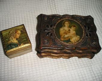 Vintage Religious Ornate PR.Italian Florentine Gilt Wood Virgin Mary/Madonna Rosary Boxes.