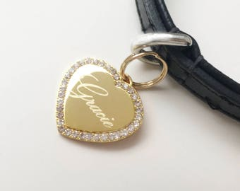 Crystal Heart Pet ID Tag Gold Plated or Silver Nickel Chrome Bling Custom Engraved for Your Pet Dog Personalized Size Med