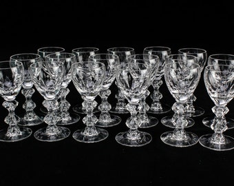 Fine Crystal Stemware 4 Tiffin Franciscan Balfour Crystal Cordial Glasses