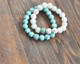 Summer Set of 2 or 3 // Turquoise and White Gemstone Bracelets // Stretch Gemstone Bracelets // Turquoise Pave Bead // Summer Accessories