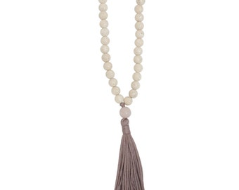 Sale - Calm Necklace - Beaded Necklace - Fossil Necklace - Tassel Necklace - Yoga Necklace - Gifts for Her