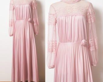 Vintage Victorian Dress, Pink lace dress, Vintage Pink Dress, Mauve Pink Dress, Vintage evening dress, Pleated Dress, 70s formal dress - S/M
