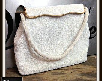 Vintage White Beaded Handbag Bag Purse Gold Frame FREE SHIPPING