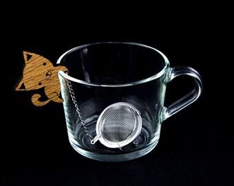 Tea Buddy™ Wood Cat Tea Infuser | tea accessory, cat lover gift, tea steeper, tea strainer, tea infuser, tea ball, loose leaf tea, tea charm