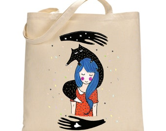 Girl with Blue Hair Totebag - Cotton Bag Weird Girl