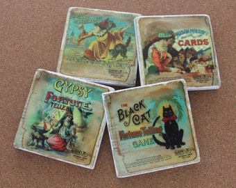 Set of 4 Tumbled Marble Tile Coasters - Gypsy Fortune Teller