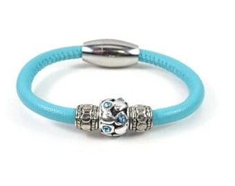 Girls Bracelet, Turquoise Leather Bracelet, Little Girls Jewelry, Childrens Jewelry, Girls Leather Bracelet, Childrens Bracelet, Baby Girl