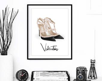 Fashion Print, Valentino Shoes Artwork. Watercolor artwork. French Couture Print. Fashion Illustration. Modern Home Décor.