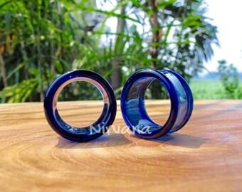 """Cobalt Blue Tunnels Pyrex Glass Gauges 6g 4g 2g 0G 00g 7/16"""" 1/2"""" 9/16"""" 5/8"""" 4 mm 5 mm 6 mm 8 mm 10 mm 12 mm 14 mm and up to 1"""" (25.4 mm)"""
