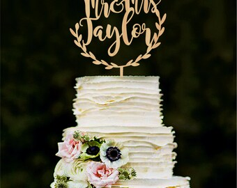 Personalised mr and mrs wedding cake topper, custom name cake toppers, last name cake toppers letter cake toppers Wood Gold Silver topper