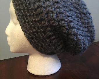 Grey Slightly Slouchy Chunky Beanie Hat