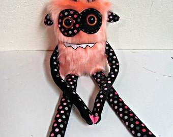 Monster Plush - Handmade Plush Monster - Coral Faux Fur -  Hand Embroidered Soft Toy  - Soft Monster Toy - Hand Painted Eyes - Plush Monster