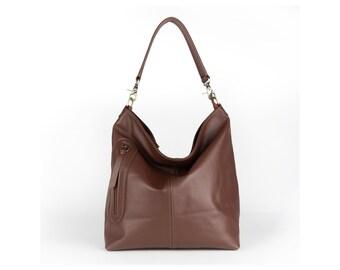 Brown leather bag / Brown leather purse / Brown leather handbag / MAXII