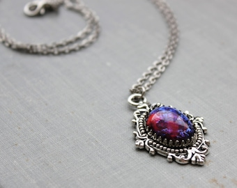 Dragons Breath Mexican Fire Opal Necklace. Silver or Bronze