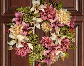 Dahlia & Lily Wreath | Front Door Wreaths | Summer Wreath | Housewarming Gift | Outdoor Wreath