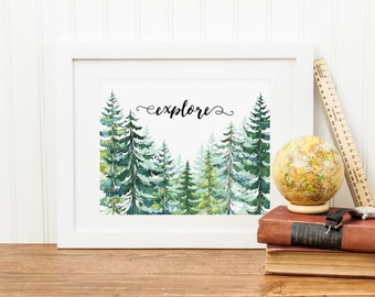 Explore Printable Conifers Pine Tree Printable Adventure Quote Print Nursery Wilderness Decor Woodland Decor Camping Decor Evergreens Green
