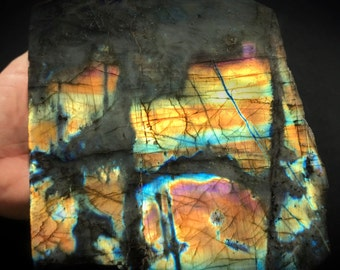 4LB. Pink Spectrolite Labradorite | Large Self-Standing Raw & Polished Stone