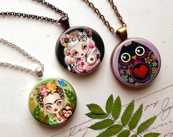 3 in 1 Interchangeable Necklace with your choice of Three Inserts - Magnetic Necklace by Sandra Vargas - Mother's Day Gift