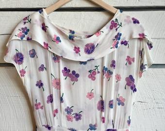 Vintage 1940s floral dress • sheer rayon dress • 40s dress