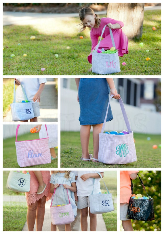 Monogrammed Pink and Blue Seersucker Easter Basket, Boys and Girls Easter Baskets