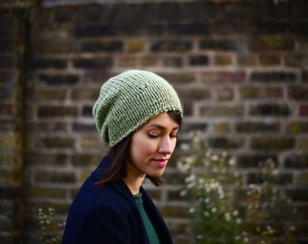 Hand Knit Hat, Women's Hat, Slouchy Hat, Slouchy Beanie, Spring Accessories, Avocado