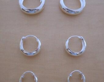925 Sterling Silver, 3 Pairs of HOOP Huggie Earrings 14 mm, 12 mm & 10 mm Diameter and 5 mm Wide  / Thickness