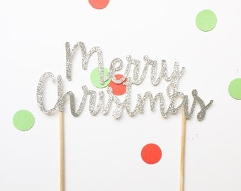 Merry christmas cake topper -custom colours available