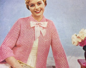Vintage knitting pattern Lee Target 1940s/1950s lady's bed jacket double knitting
