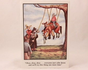 Vintage 1981 Gary Larson Far Side Greeting Card and Envelope. Horse