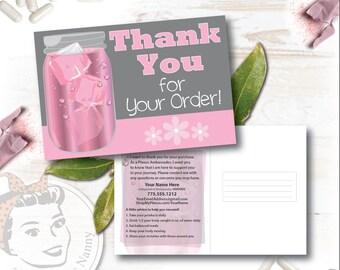 Plexus Mason Jar Thank You postcard - Free Shipping